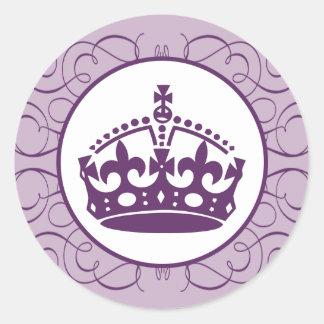 """20 - 1.5"""" Envelope Sticker Royal Purple Crown/Swir"""