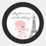 "20 - 1.5""  Favour Stickers Pink Poodle in Paris"