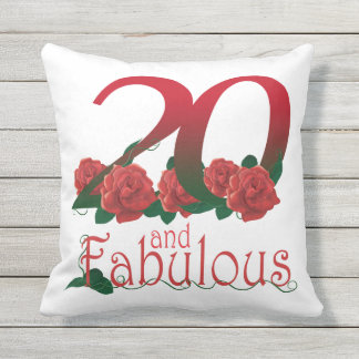 20 and fabulous 20th birthday red roses Pillow