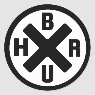 20 Bruh black-white logo Classic Round Sticker