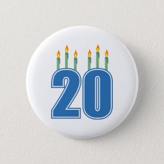 20 Candles (Blue / Green) 2 Inch Round Button