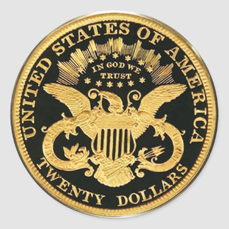 $20 Double Eagle Coin (pack of 6/20) Classic Round Sticker