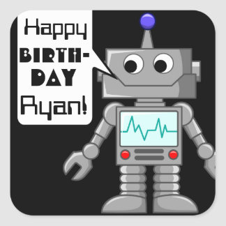 20 Happy Birthday Personalized Robot Stickers