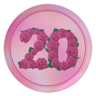 20 number birthday anniversary 20th floral plate