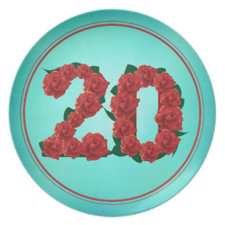 20 number birthday anniversary 20th roses plate