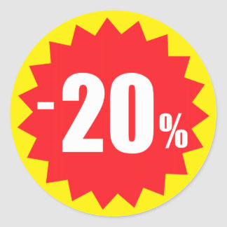 20 percent sale discount stickers, yellow and red classic round sticker