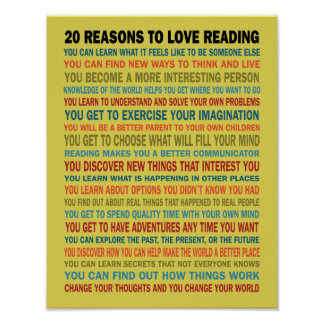 20 Reasons to Love Reading Books Poster