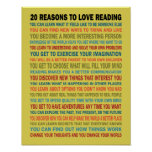 20 Reasons to Love Reading Books Posters