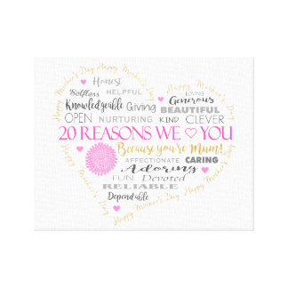 20 Reasons we Love you on Mother's Day. Canvas Print