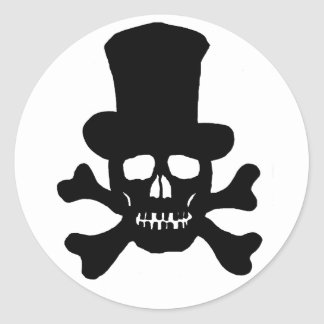 20 Stickers Poison Skull and Crossbones Top Hat