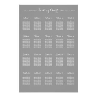 20 Table Large Wedding Seating Chart Poster