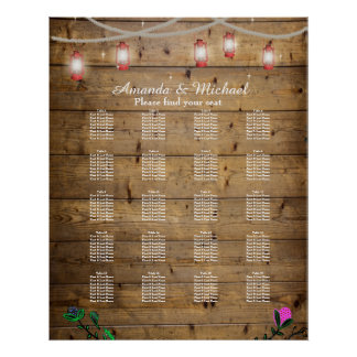 20 Tables Rustic Lantern Lights Seating Poster