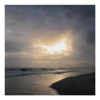 "20""x20"" Beach Sunset Poster Print"
