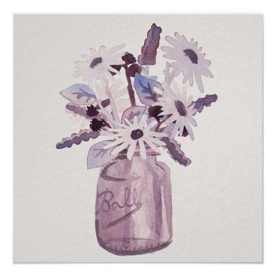 "20""x20"" Purple Mason Jar Wild Flowers Poster"