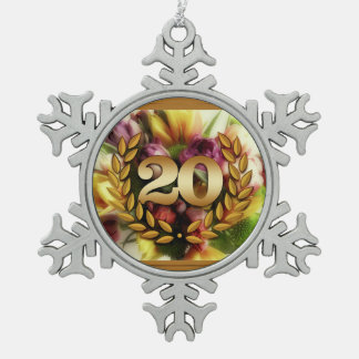 20 year anniversary floral illustration snowflake pewter christmas ornament