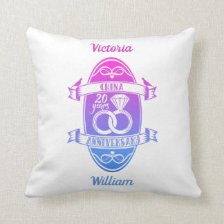 20 Year traditional China 20th wedding anniversary Throw Pillow