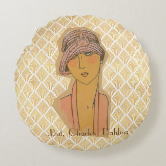 "20's Flapper ""Bring me Champagne"" Round Pillow"