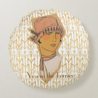 20's Flapper Champagne and Berries Round Pillow