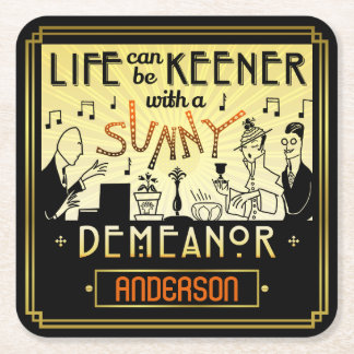 20s Retro Art Deco Sunny Demeanor Custom Name Square Paper Coaster