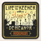 20s Retro Art Deco Sunny Demeanour Custom Name Square Paper Coaster