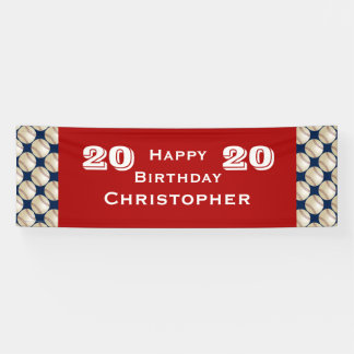 20th/21st/25th Birthday Party Baseball Banner, Red Banner