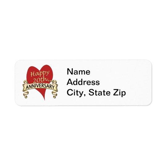 20th. Anniversar Return Address Label