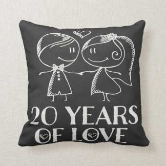 20th Anniversary Couples Chalk Drawn Pillow Gift