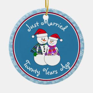 20th Anniversary Gift Fun Snow Couple Christmas Ceramic Ornament