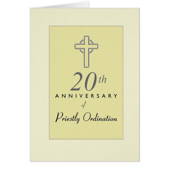 20th Anniversary of Priest with Embossed Cross, Re Card
