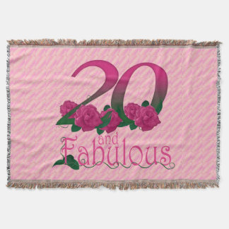 20th birthday 20 and fabulous pink flowers blanket