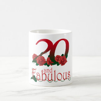 20th birthday 20 and fabulous red roses floral mug