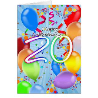 20th Birthday - Balloon Birthday Card - Happy Birt