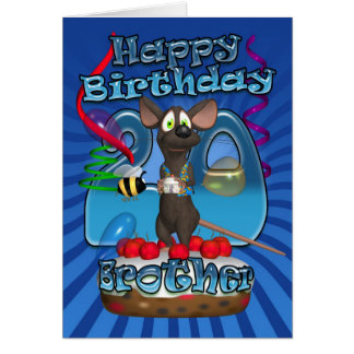20th Birthday Card For Brother - Funky Mouse On A