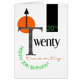 20th Birthday card graphic design