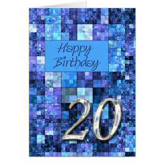 20th Birthday card with abstract squares.