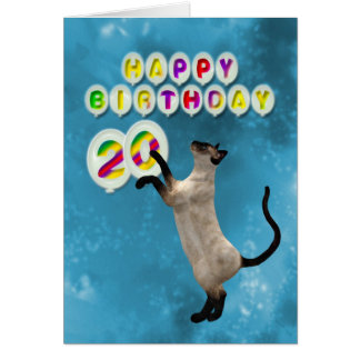 20th Birthday card with siamese cats