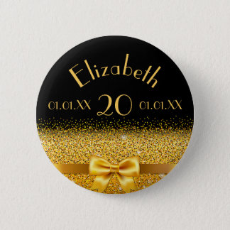 20th birthday elegant gold bow with ribbon black 2 inch round button