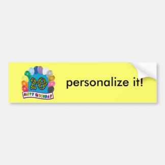 20th Birthday Gifts with Assorted Balloons Design Bumper Sticker