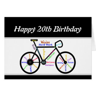 20th Birthday Motivational Bike Bicycle Cycling Card