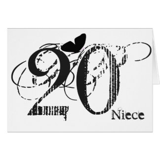 20th birthday, niece, butterfly, black & white. greeting card