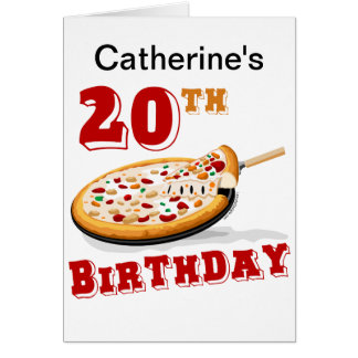 20th Birthday Pizza Party Card