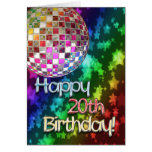 20th birthday with disco ball and rainbow of stars greeting card