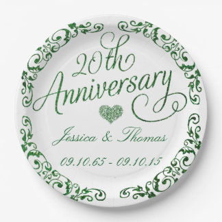 20th Emerald Wedding Anniversary Paper Plates