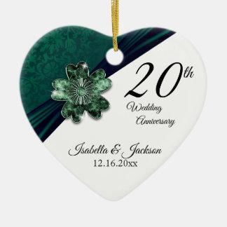 20th Green Emerald Wedding Anniversary Ceramic Ornament