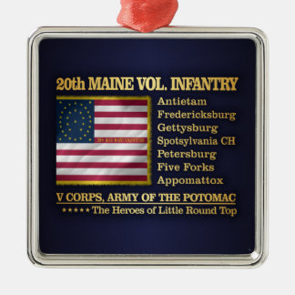 20th Maine Volunteer Infantry (BH) Silver-Colored Square Ornament