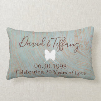 20th Wedding Anniversary Blue and Copper print Lumbar Pillow