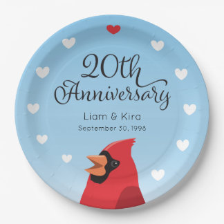 20th Wedding Anniversary, Cardinal and Hearts 9 Inch Paper Plate