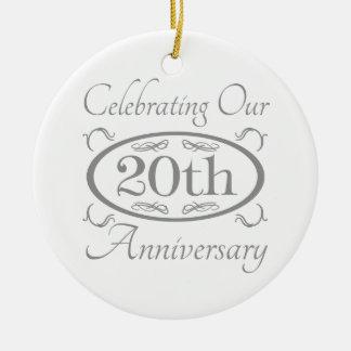 20th Wedding Anniversary Ceramic Ornament