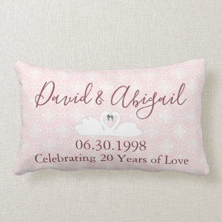 20th Wedding Anniversary Pink and White Damask Lumbar Pillow