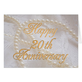20th wedding anniversary with lace and pearls card